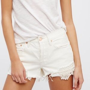 Free People White Daisy Chain Lace Jean Short